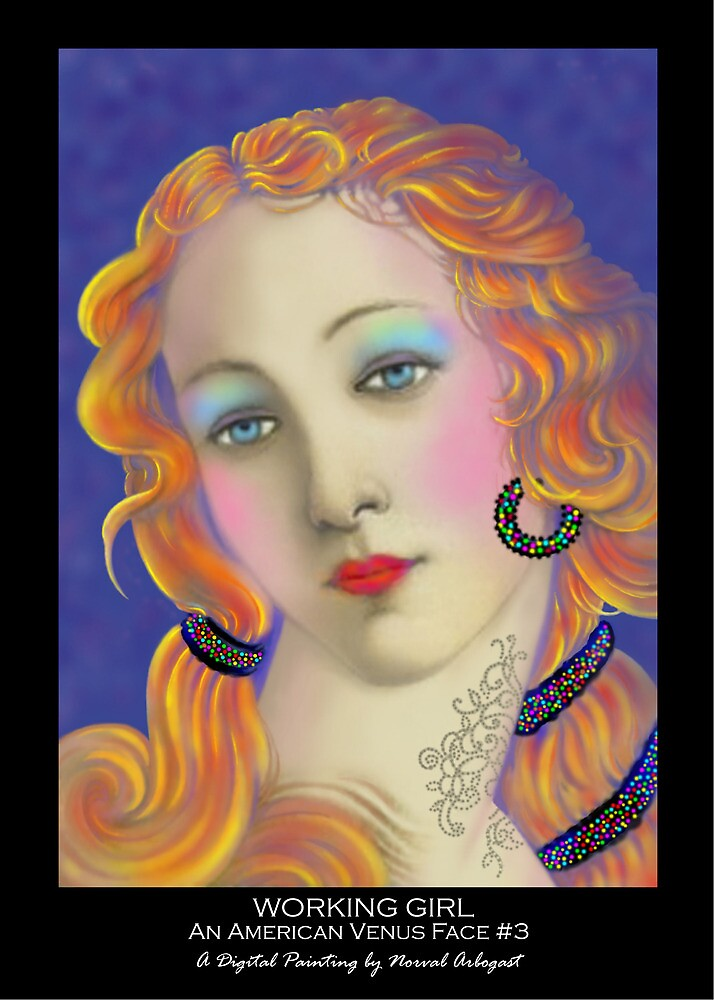 'Working Girl Three Faces of a Modern American Venus', Titled Greeting Card by luvapples downunder/ Norval Arbogast