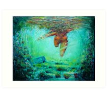 Diving on the reef Art Print