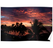 Silhouette Cook Island sunset Poster