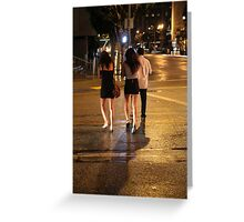 Miniskirt Cold, Downtown, Los Angeles Night Greeting Card
