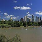 Brisbane Panorama With Abseiler by Noel Elliot