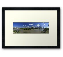 Brisbane Panorama With Abseiler Framed Print