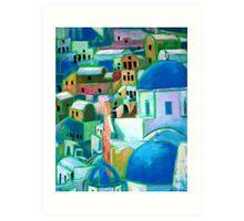 Santorini, Acrylic painting Art Print