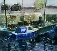 Blue Boats at Burghead, Scotland by Myra Gallicker