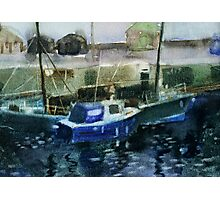 Blue Boats at Burghead, Scotland Photographic Print