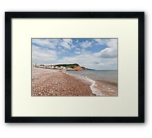 Sea, sky, shingle and Sidmouth Framed Print