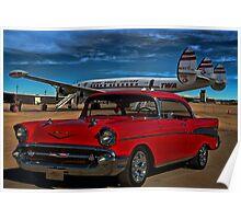 1957 Chevrolet Bel Air - Lockheed Constellation Super G Poster