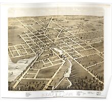 Panoramic Maps Bird's eye view of the city of Beaver Dam Dodge Co Wisconsin 1867 Poster