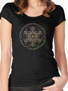 Sacred Geometry Sphere, Rainbow Women's Fitted Scoop T-Shirt