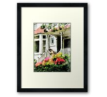 Azaleas by Porch With Wicker Chair Framed Print