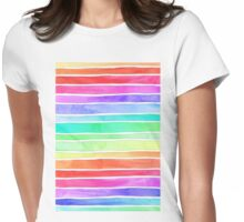 Ever So Bright Rainbow Stripes Womens Fitted T-Shirt