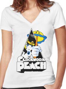 Clockwork Peach Women's Fitted V-Neck T-Shirt