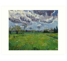 Landscape Under a Stormy Sky by Vincent van Gogh Art Print