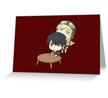 Araragi x Shinobu Chibi No. 2 Greeting Card