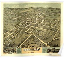 Panoramic Maps Bird's eye view of the city of Huntsville Madison County Alabama 1871 Poster