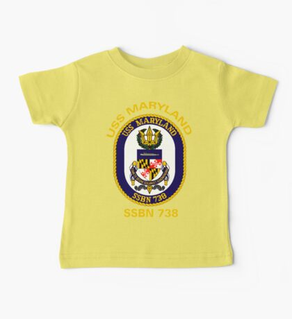 USS Maryland (SSBN-738) Crest for Dark Colors Baby Tee