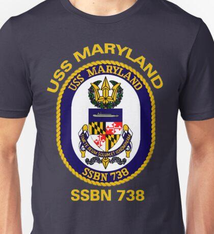 USS Maryland (SSBN-738) Crest for Dark Colors Unisex T-Shirt