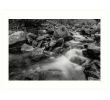 Boulder Creek Water Falling in Monochrome Art Print