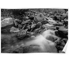 Boulder Creek Water Falling in Monochrome Poster