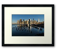 Luminous Blue, Silver and Gold - Manhattan Skyline and East River Framed Print