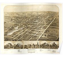 Panoramic Maps Birds eye view of the city of Ripon Fond du Lac Co Wisconsin 1867 Poster