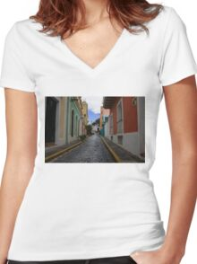Dazzling Caribbean Colors - a Street in San Juan, Puerto Rico Women's Fitted V-Neck T-Shirt