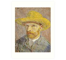 Self Portrait with Straw Hat by Vincent van Gogh Art Print