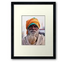 Yellow Turban, Green Knit Framed Print