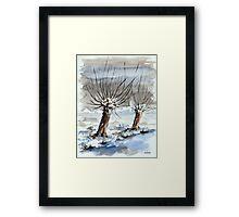 WINTER IN THE DUTCH POLDER - AQUAREL Framed Print