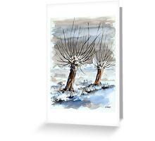 WINTER IN THE DUTCH POLDER - AQUAREL Greeting Card