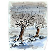 WINTER IN THE DUTCH POLDER - AQUAREL Poster