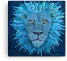 Indigo Lion in shades of blue Canvas Print