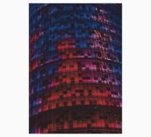 Bright Blue, Red and Pink Illumination - Agbar Tower, Barcelona, Catalonia, Spain One Piece - Long Sleeve