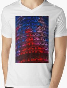 Bright Blue, Red and Pink Illumination - Agbar Tower, Barcelona, Catalonia, Spain Mens V-Neck T-Shirt