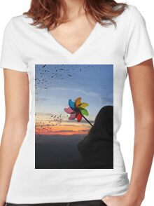 For the Birds Women's Fitted V-Neck T-Shirt
