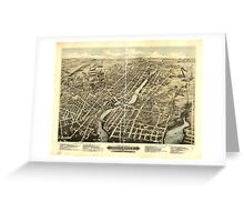 Panoramic Maps Bird's eye view of Pawtucket & Central Falls RI 1877 Greeting Card