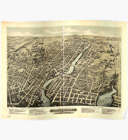 Panoramic Maps Bird's eye view of Pawtucket & Central Falls RI 1877 Poster