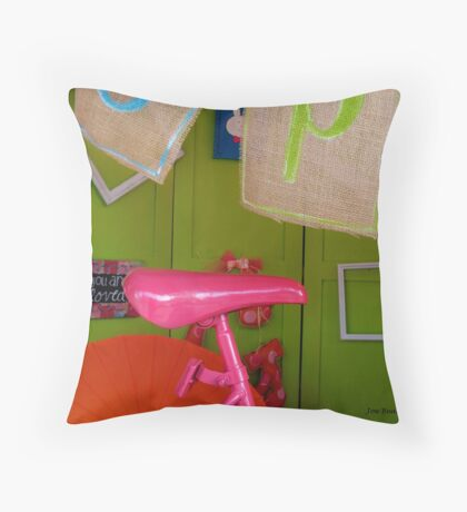 On the hot PINK seat! Throw Pillow