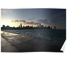 Chicago skyline with wave action Poster