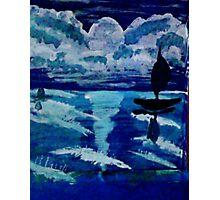 Moonlight sail,,, watercolor Photographic Print