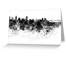 Montreal skyline in black watercolor Greeting Card