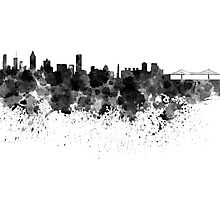 Montreal skyline in black watercolor Photographic Print