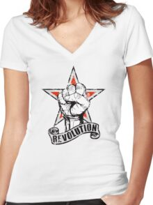 Up The Revolution! Women's Fitted V-Neck T-Shirt