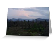 Dusk over blue hills of Peebles Scotland Greeting Card