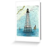 Alligator Reef Lighthouse FL Nautical Chart Peek Greeting Card