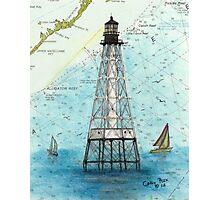 Alligator Reef Lighthouse FL Nautical Chart Peek Photographic Print