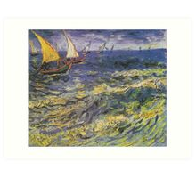 Fishing Boats at Saintes-Maries by Vincent van Gogh Art Print