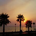 Palm trees and golden sunset over the sea, La Manga, Spain by Grace Johnson