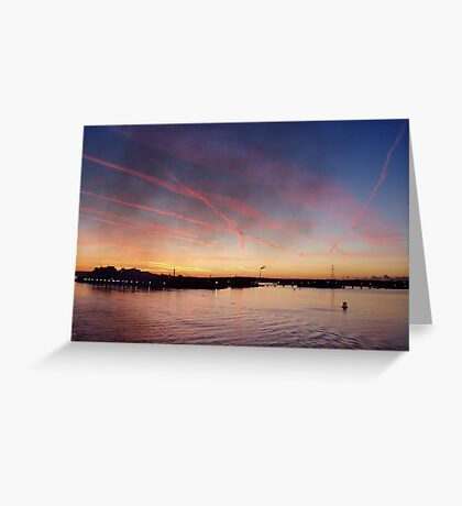Sunrise over sea as arrive in Cork, Ireland  Greeting Card