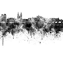 Prague skyline in black watercolor Photographic Print